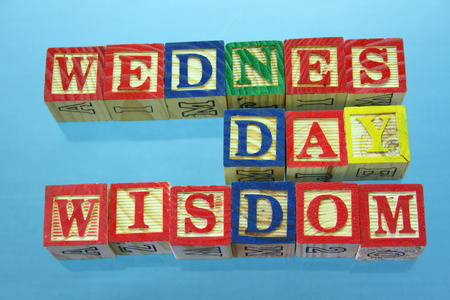 The term Wednesday wisdom displayed on a clear blue background using wooden toy blocks