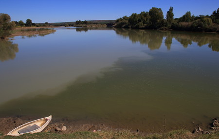 The confluence of the Orange and Vaal Rivers at the town of Douglas in the Northern Cape of South Africa