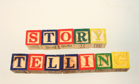 jargon: The term story telling displayed visually using colorful wooden to blocks