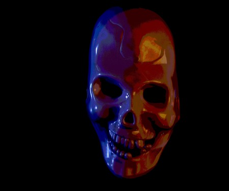Eerie futuristic skull mask on a dark background in landscape format with copy space