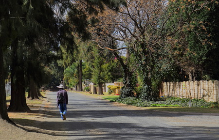 slog: Johannesburg South Africa - a man walks home from work in a tree-lined urban street in the city