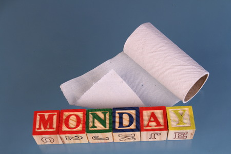 The term Monday next to a roll of toilet paper visually displayed on a white background using colorful wooden toy blocks in landscape format with copy space