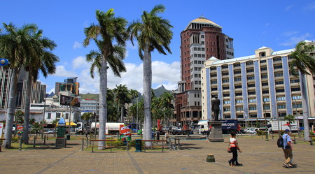 Port Louis, Mauritius - a view of the city from the Le Caudan Waterfront in landscape format Editorial