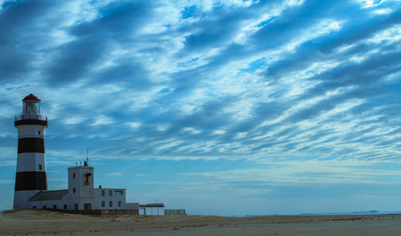 Port Elizabeth, South Africa - the historic Cape Recife Lighthouse outside the city, image in landscape format with copy space Editorial
