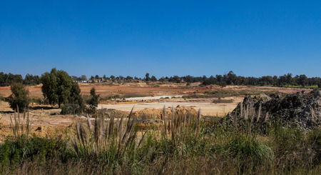 Reclamation has removed most of the historic gold mining dumps around the city of Johannesburg in South Africa image with copy space in landscape format