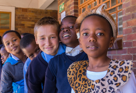 Johannesburg, South Africa - unidentified school children, some in traditional dress, celebrate Africa Day Editorial
