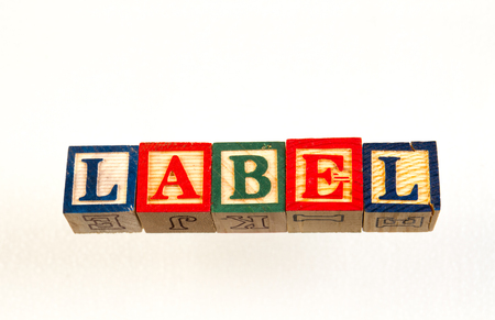 The term label visually displayed on a white background using colorful wooden toy blocks image with copy space in landscape format Foto de archivo