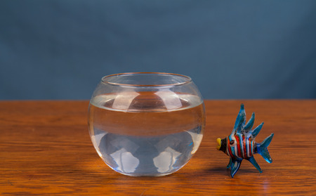 Glass fish next to a bowl of water image with copy space in landscape format