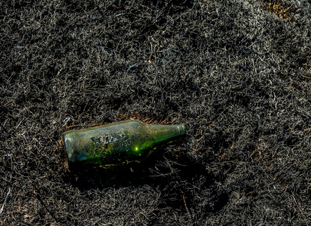 Used empty green glass bottle isolated on a field ob black burnt grass image with copy space