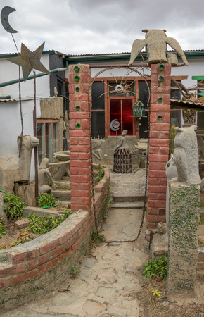 Nieu Bethesda, South Africa - the Owl House museum in the town came about when the owner Helen Martins turned her house and garden into a visual outsider art environment Editorial