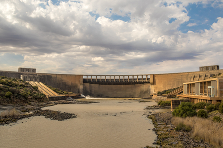 Norvalspont, South Africa - below the wall of the Gariep Dam on the Orange River image in landscape format with copy space