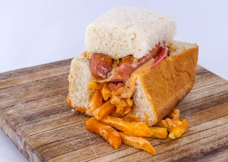 Kota - a basic South African popular inexpensive township street food image with copy space in landscape format