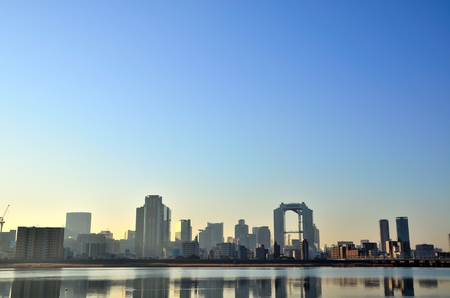 Umeda buildings from the Yodo River 스톡 콘텐츠