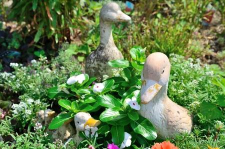 animal figurines: Flower bed Stock Photo