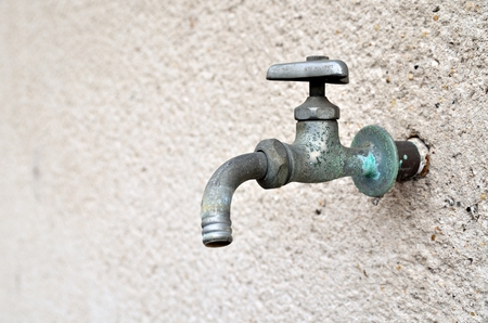 plating: Faucet on wall Stock Photo