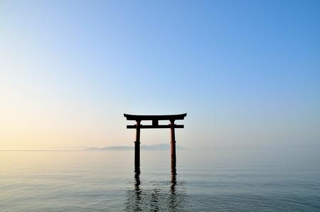 shores: Lake shores of shirahige shrine Torii
