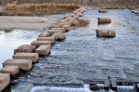 The stepping stone of the Kamogawa River in Kyoto