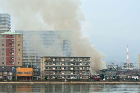 Fire in a residential area 에디토리얼