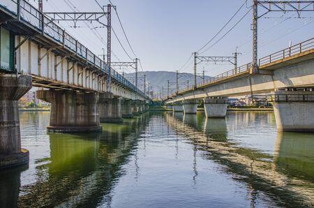 The iron bridge of the Seta River in Shiga