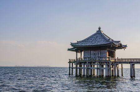 Ukimi-Dou Temple of Shiga full moon 에디토리얼