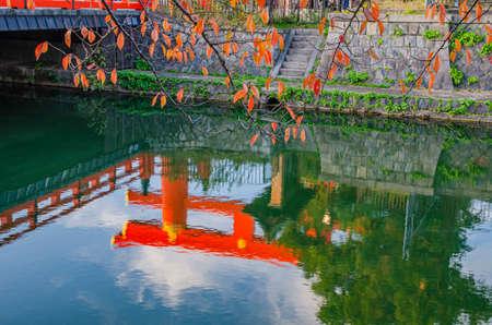 Lake Biwa Canal  in Kyoto and The Great Torii of Heian Jingu Shrine 에디토리얼