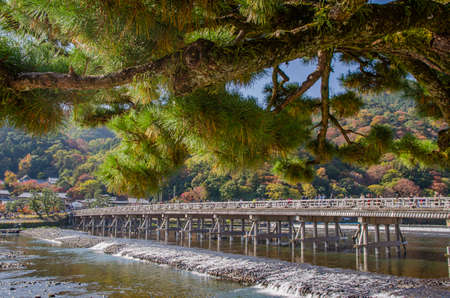 Toritsu Bridge in Arashiyama, Kyoto Stock Photo