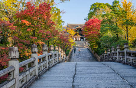 Entsu bridge and autumnal leaves of Otani Main Shrine, Kyoto