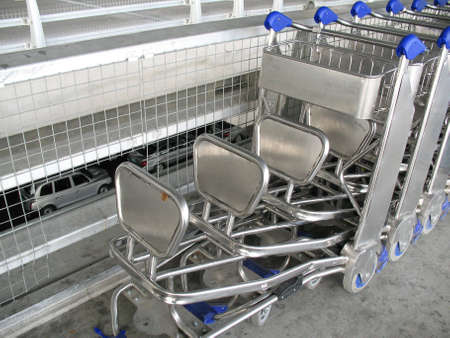 Rows of trolleys at the airpot