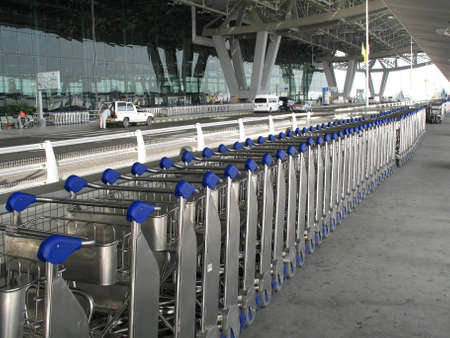 Rows of trolley at the airport