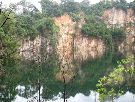 A quarry found in Bukit Timah hill in Singapore