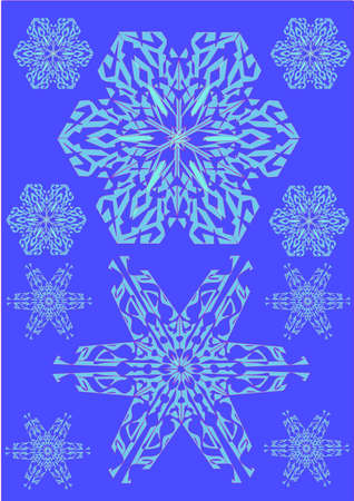 Beautiful and intricate blue snow flakes