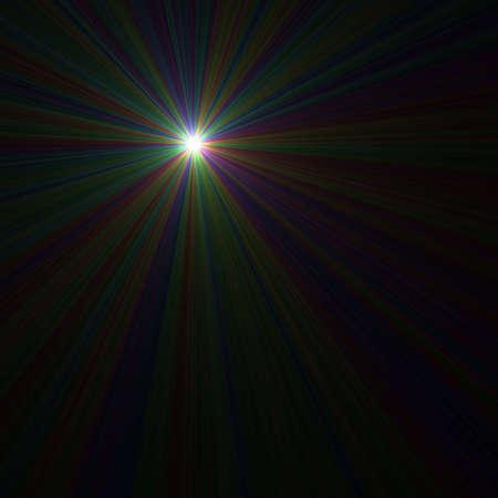 Colourful starburst set against black background