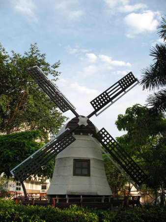 A Dutch windmill found in the Malaysia city of Malacca, once occupied by the Dutch and hence has much Dutch influence. Stock Photo