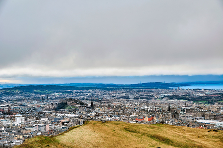 Edinburgh, View of the city, Several monuments and the Castle, Stock Photo
