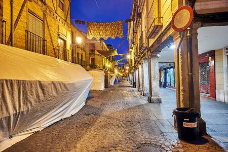 Streets and Medieval Fair (closed) in Alcala de Henares,dawn during the week of Cervantes (10062016) Editorial