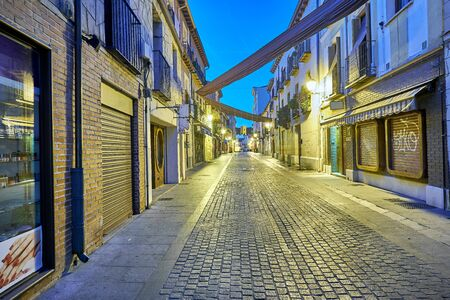 centenary: Streets and Medieval Fair (closed) in Alcala de Henares,dawn during the week of Cervantes (10062016) Editorial