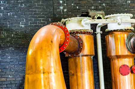 BLACFORD, PERTHSHIRE, SCOTLAND, UK, September 16, 2016 Machinery of Tullibardine whiskey distillery in the highlands of scotland Editorial