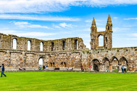 ST ANDREW, SCOTLAND, UK, September 17, 2016. Ruins of St. Andrews Cathedral, destroyed during the Scottish Reformation in the sixteenth century Editorial