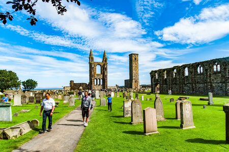 reformation: ST ANDREW, SCOTLAND, UK, September 17, 2016. Ruins of St. Andrews Cathedral, destroyed during the Scottish Reformation in the sixteenth century Editorial