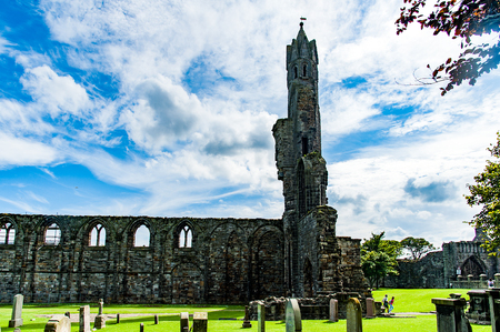 ST ANDREW, SCOTLAND, UK. Ruins of St. Andrews Cathedral, destroyed during the Scottish Reformation in the sixteenth century