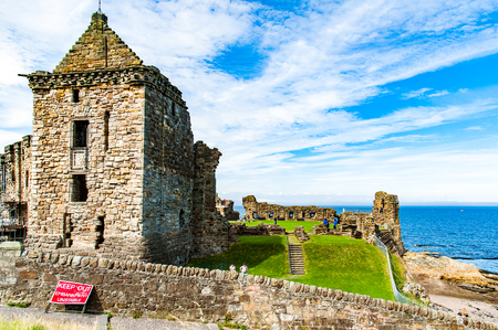 St. Andrews, Scotland, UK- Ruins of St. Andrews Castle, St. Andrews, Protestant preacher George Wishart may have been imprisoned in the castle%u2019s  dungeon.