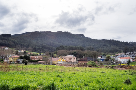 The countryside in Galicia near a village called Ledoño on a rainy winter day Stock Photo