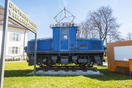 Munich, Bavaria, Germany.- March 28, 2016. Old train machines at the Deutsches Museum Verkehrszentrum