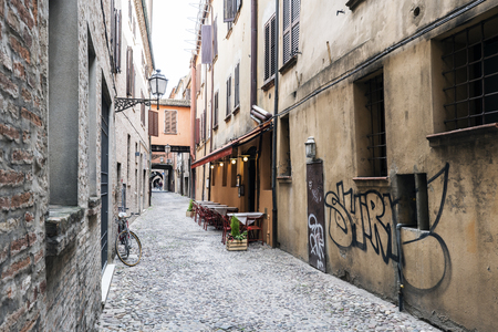 unesco: Ferrara, Emilia-Romagna, Italy. May 20, 2017. Views of the via delle-volte, a medieval street in the center of the village