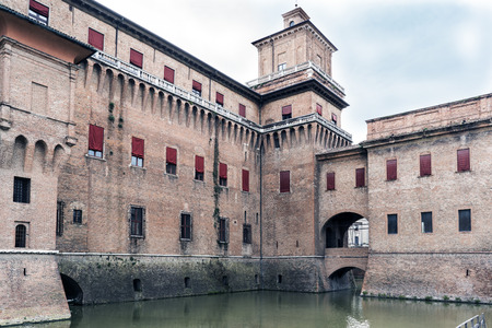 ferrara: Ferrara, Emilia-Romagna, Italy. May 20, 2017. Views of the medieval ducal castle called estense, in marnific state of conservation