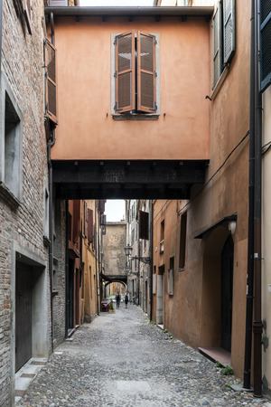 Ferrara, Emilia-Romagna, Italy. Views of the via delle-volte, a medieval street in the center of the village