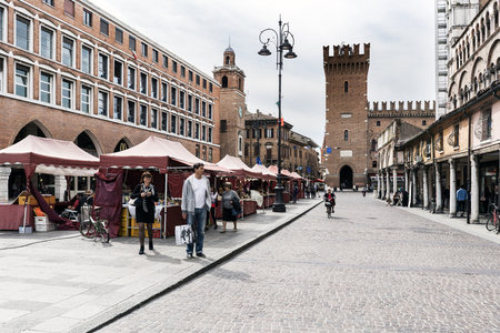 ferrara: Ferrara, Emilia-Romagna, Italy. May 20, 2017. Views of the medieval square trento-Trieste famous for its cathedral and being a world heritage site