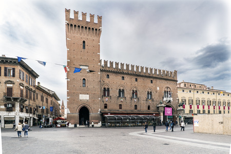 Ferrara, Emilia-Romagna, Italy. May 20, 2017. Views of the medieval square trento-Trieste famous for its cathedral and being a world heritage site