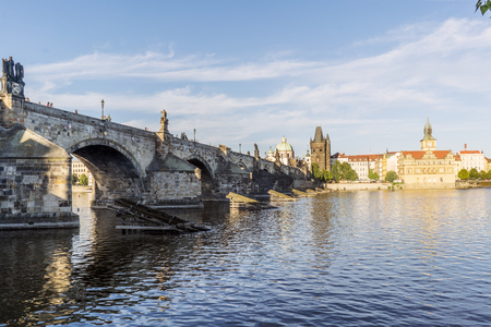 View of the Charles bridge and the Liechtenstein Palace on the Vltava river from the shore of Stare Mesto in Prague. Czech Republic