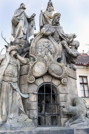 picturesque: Prague, Czech Republic. 28 May 2017. Details of statues on Charles bridge, Prague.